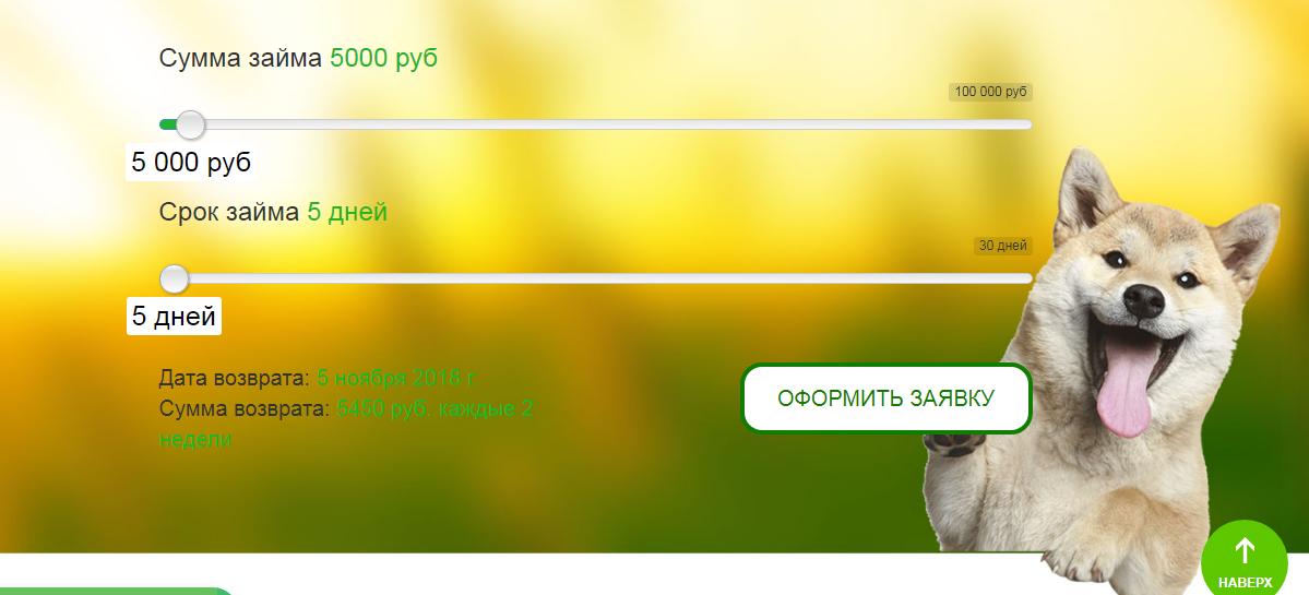 Займ до 100 тысяч рублей